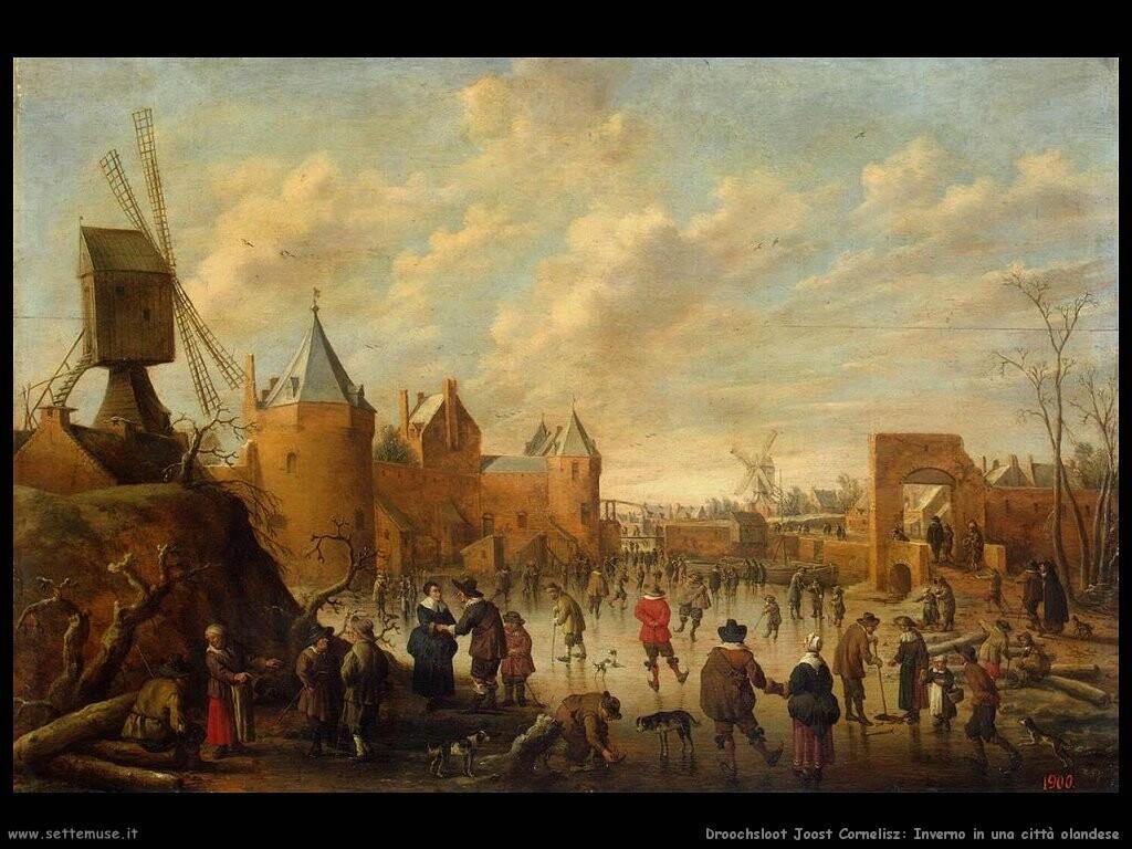 droochsloot joost cornelisz  Inverno in una città olandese