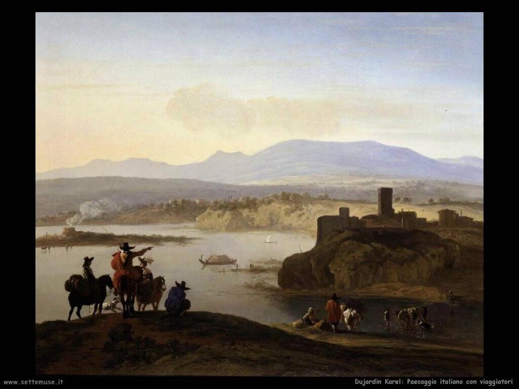 dujardin karel Paesaggio italiano con viaggiatori