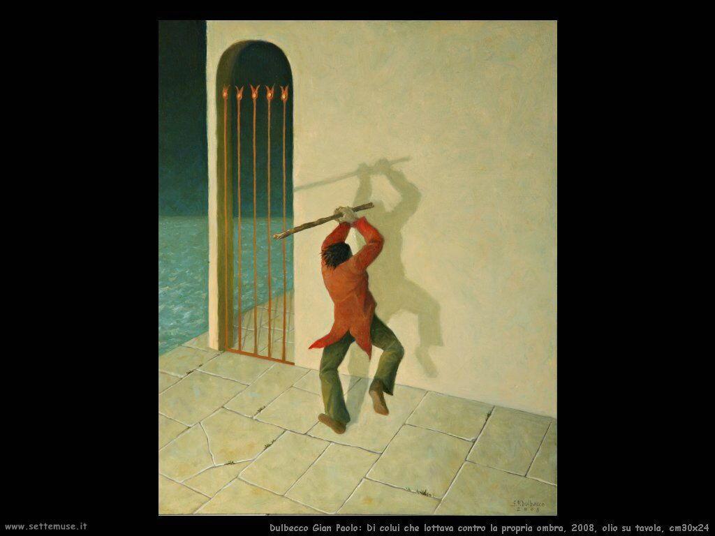 Di colui che lottava contro la propria ombra, 2008, olio su tavola, cm30x24