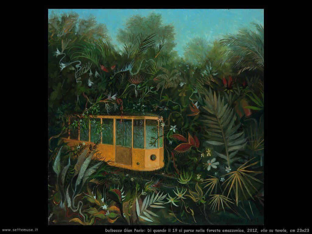 Di quando il 19 si perse nella foresta amazzonica, 2012, olio su tavola, cm 23x23