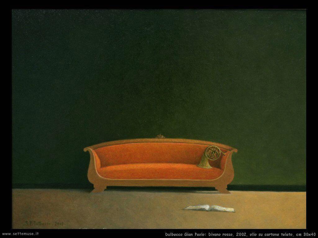 Divano rosso, 2002, olio su cartone telato, cm 30x40