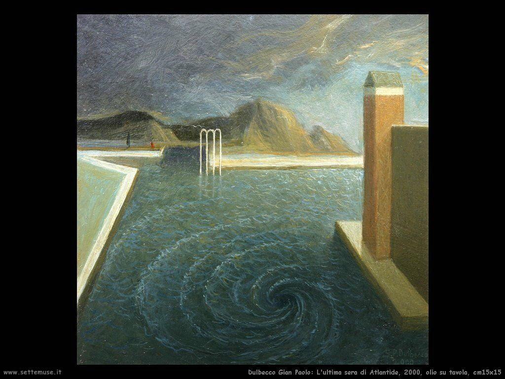 L'ultima sera di Atlantide, 2000, olio su tavola, cm15x15