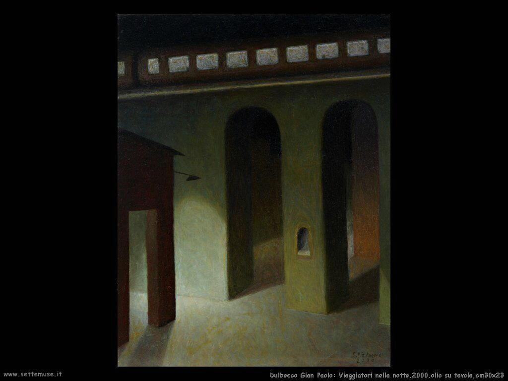 Viaggiatori nella notte,2000,olio su tavola,cm30x23