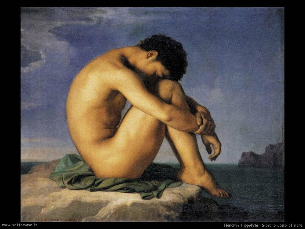 flandrin hippolyte Giovane uomo al mare