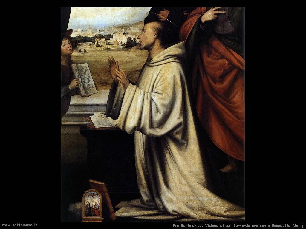 fra bartolomeo Visione di san Bernardo con san Benedetto (dett)