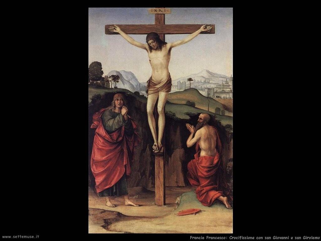 francia francesco Crocifissione con san Giovanni e Girolamo