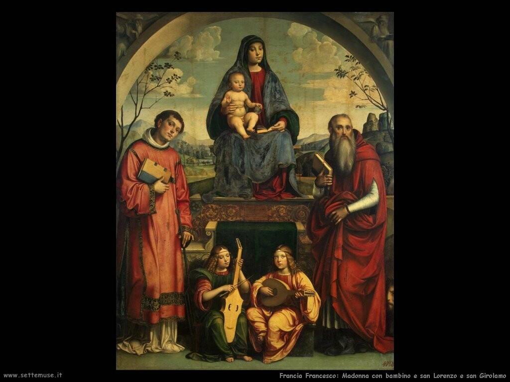 francia francesco Madonna con bambino e santi Lorenzo e Girolamo