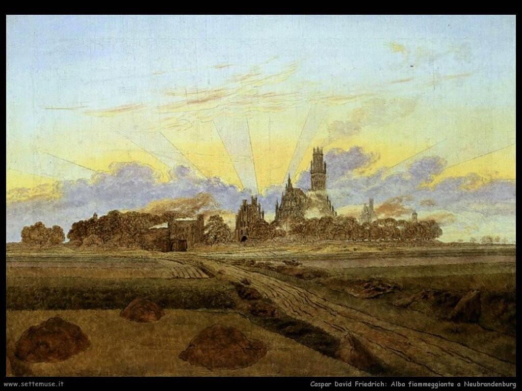 caspar david friedrich Neubrandenburg nelle fiamme dell'alba