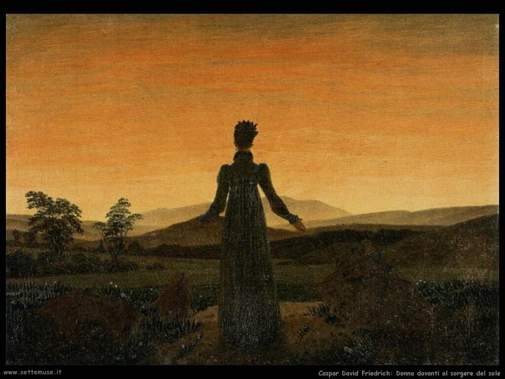 caspar david friedrich una donna prima del sorgere del sole