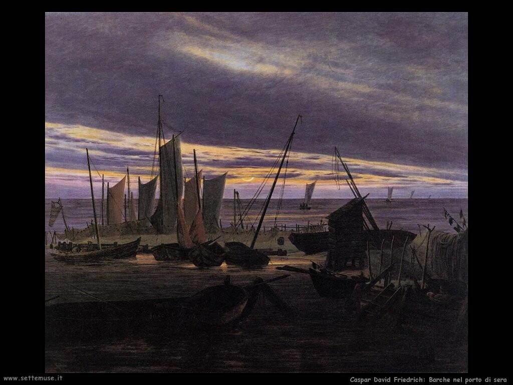 caspar david friedrich Barche nel porto alla sera