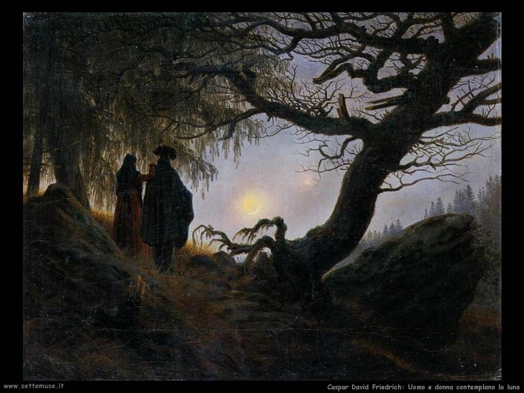 caspar david friedrich  Uomo e donna contemplano la luna