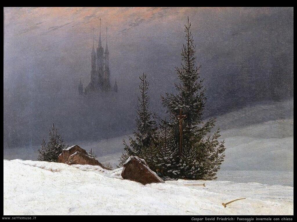 caspar david friedrich Paesaggio invernale con chiesa