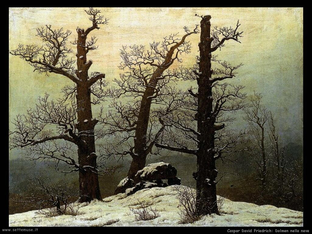 caspar david friedrich  Dolmen nella neve