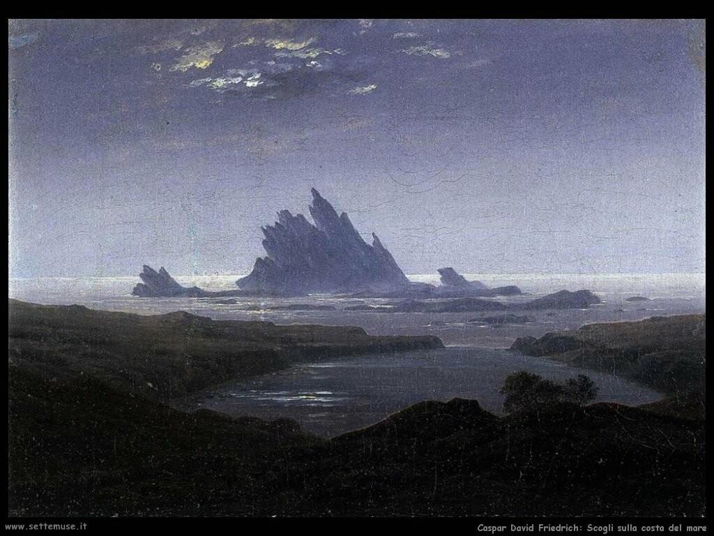 caspar david friedrich  Scogli sulla riva del mare