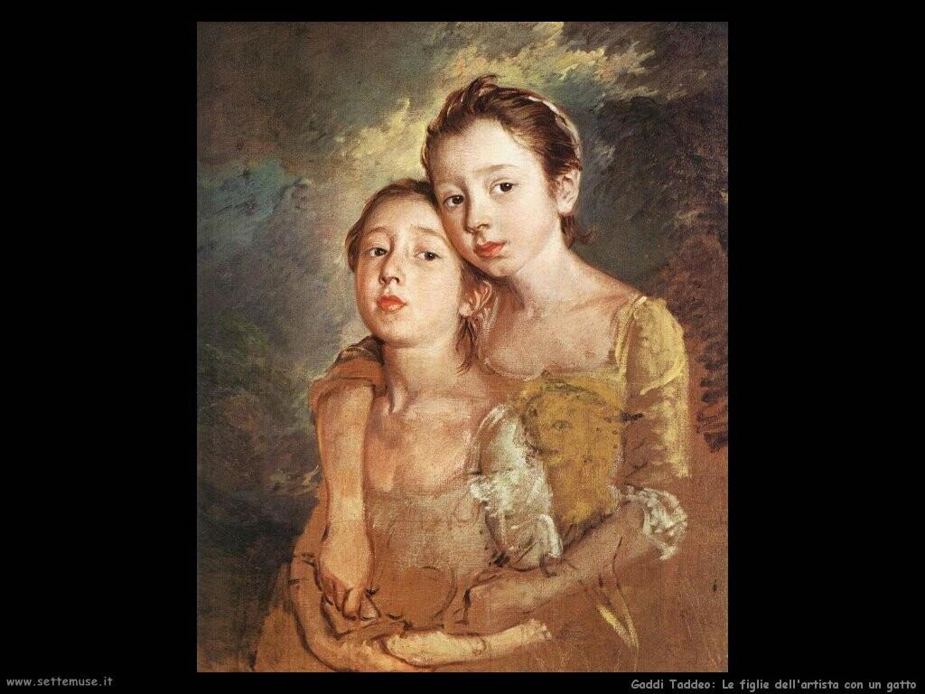 gainsborough thomas  Le figlie dell'artista con un gatto