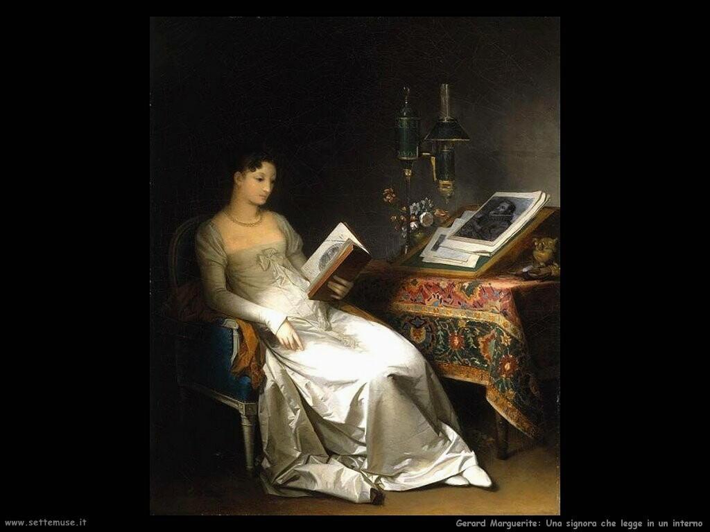 gerard marguerite Signora mentre legge in un interno