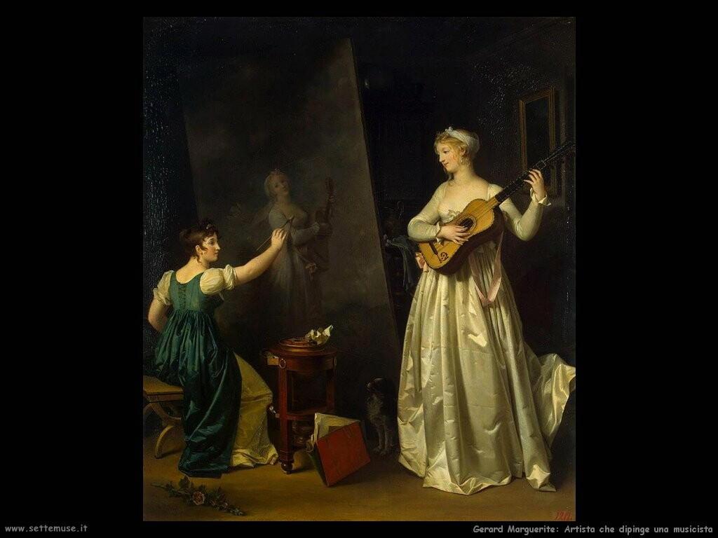 gerard marguerite  L'artista dipinge il ritratto di una musicista