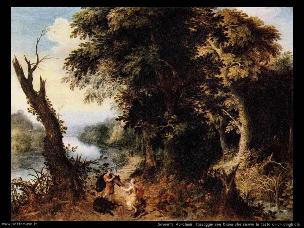 govaerts abraham Paesaggio con Diana che riceve la testa di un cinghiale