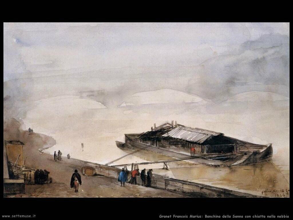granet francois marius  Banchina della Senna con chiatta nella nebbia