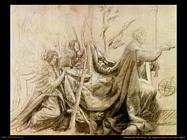 grunewald matthias  Re inginocchiato con due angeli