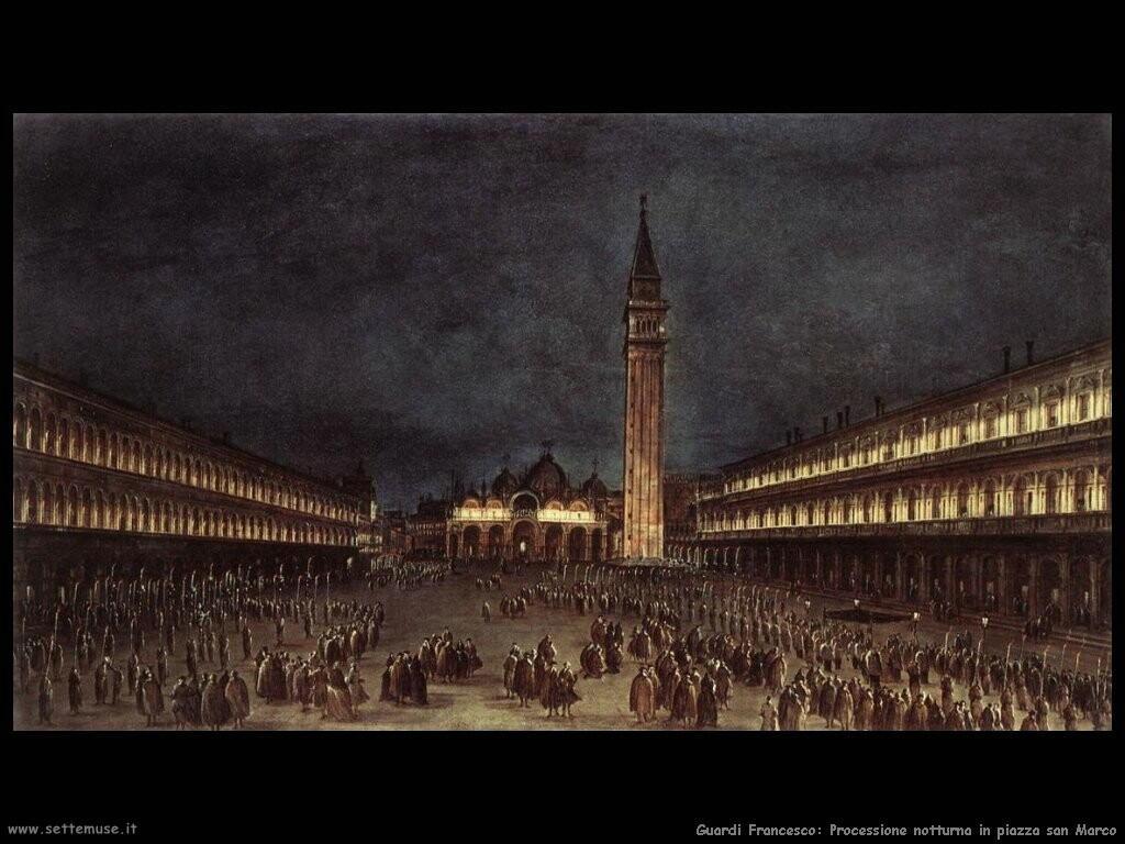 guardi francesco Processione notturna in piazza San Marco