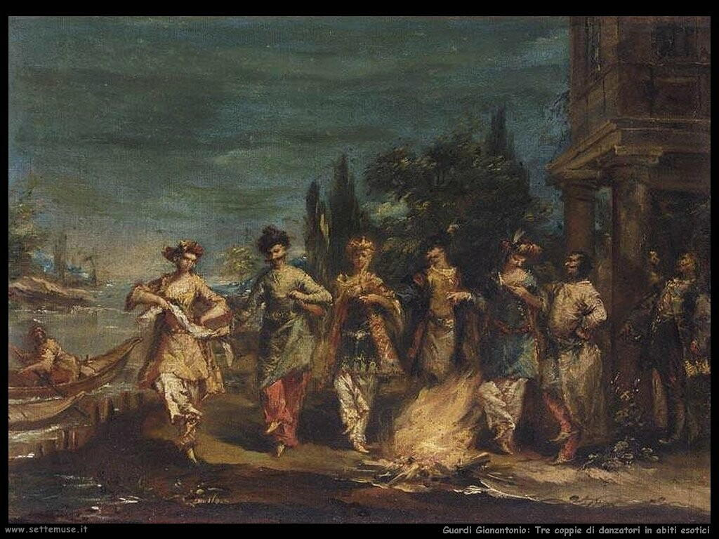 guardi gianantonio Tre coppie danzanti in abiti esotici