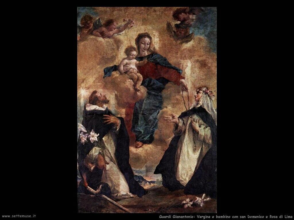 guardi gianantonio Vergine e bambino con san Domenico e Rosa di Lima