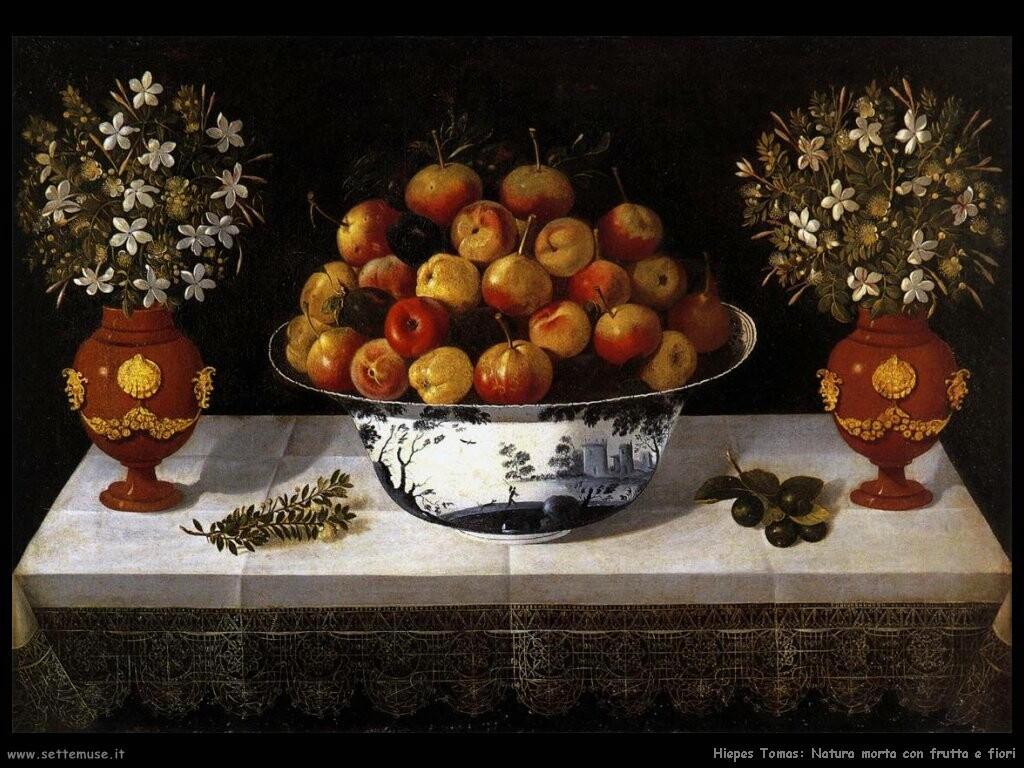 hiepes tomas Natura morta con frutta e fiori