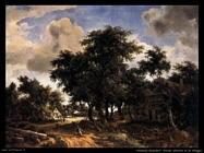 hobbema meyndert   Strada di villaggio con alberi