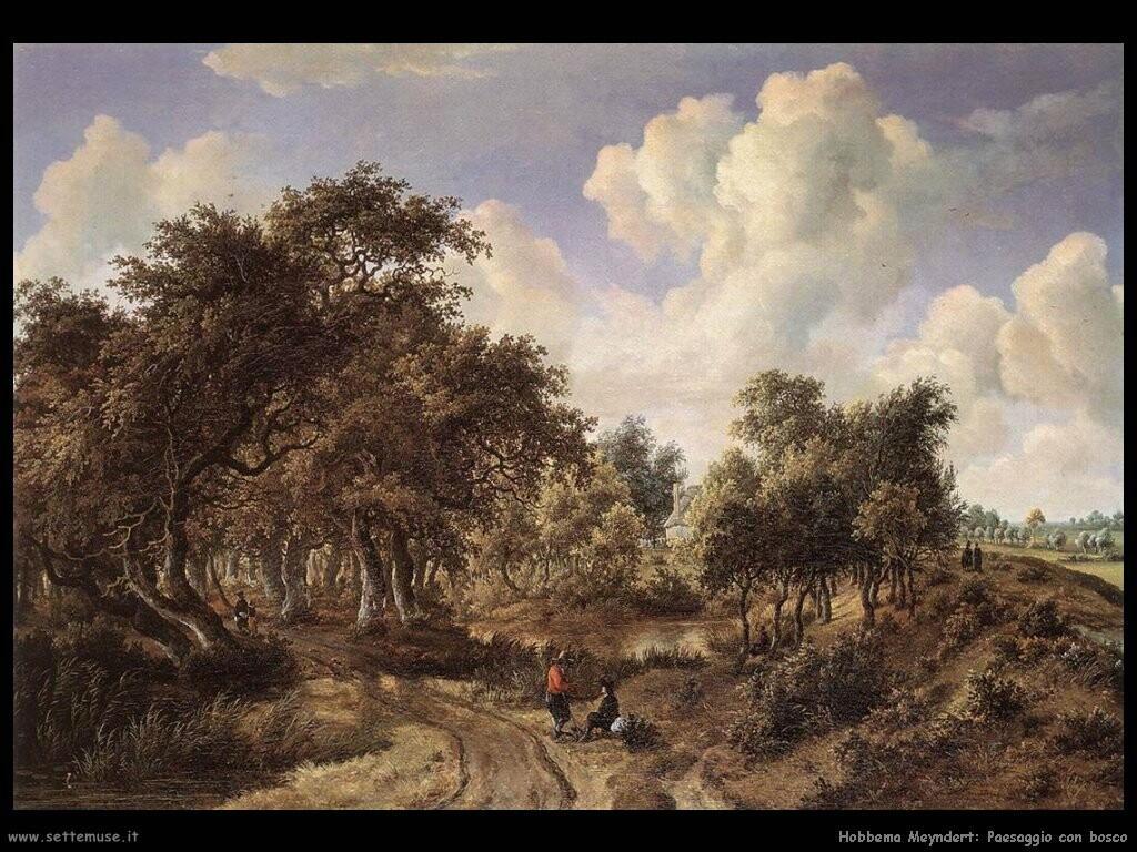 hobbema meyndert   Paesaggio boschivo