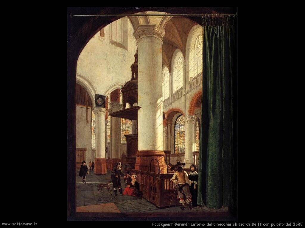 houckgeest gerard  Interno della oude kerk in Delft con pulpito (1548)