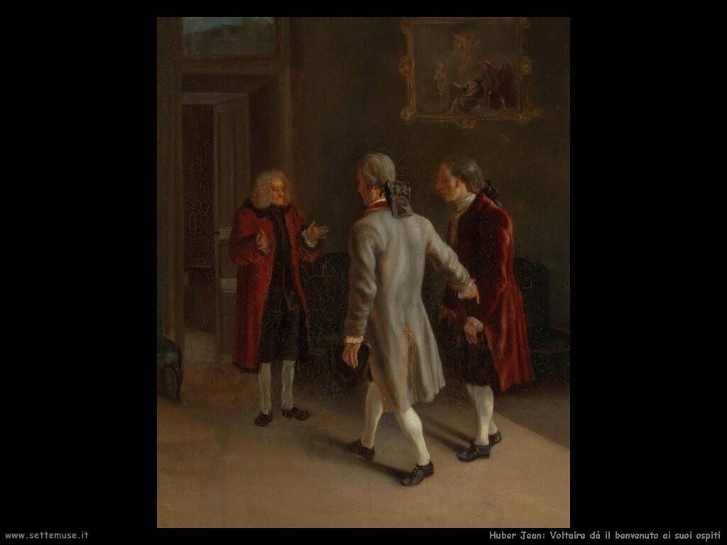 huber jean Voltaire dà il benvenuto agli ospiti