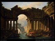 hubert robert Paesaggio architettonico con un canale