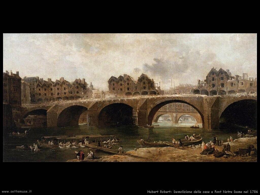 hubert robert  Demolizione di case sul ponte Notre Dame nel 1786
