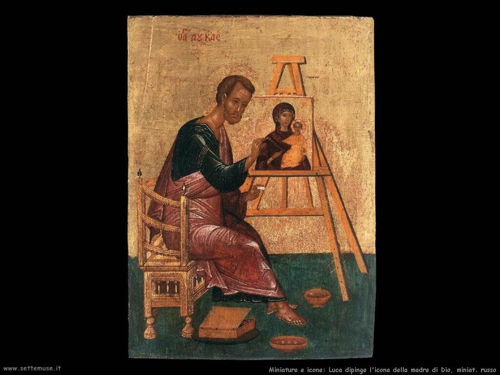 luca dipinge icona madre di dio