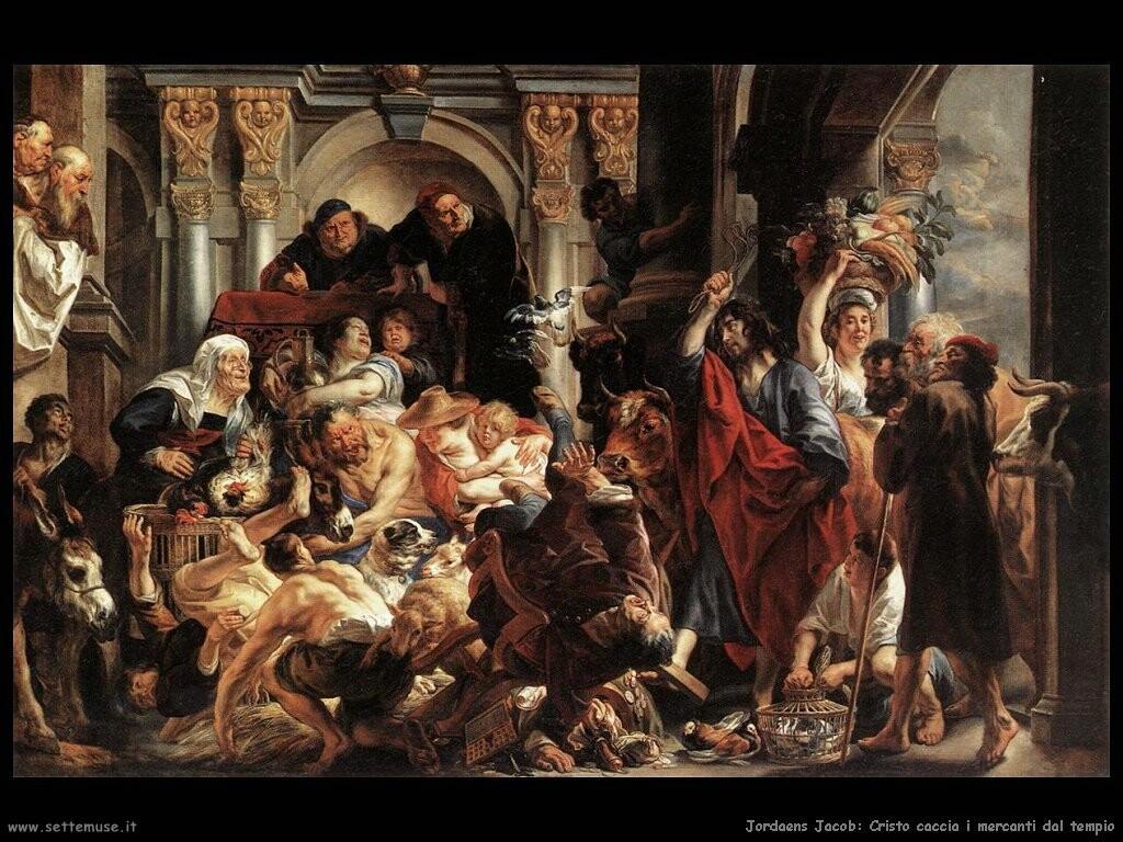 jordaens jacob Cristo scaccia i mercanti