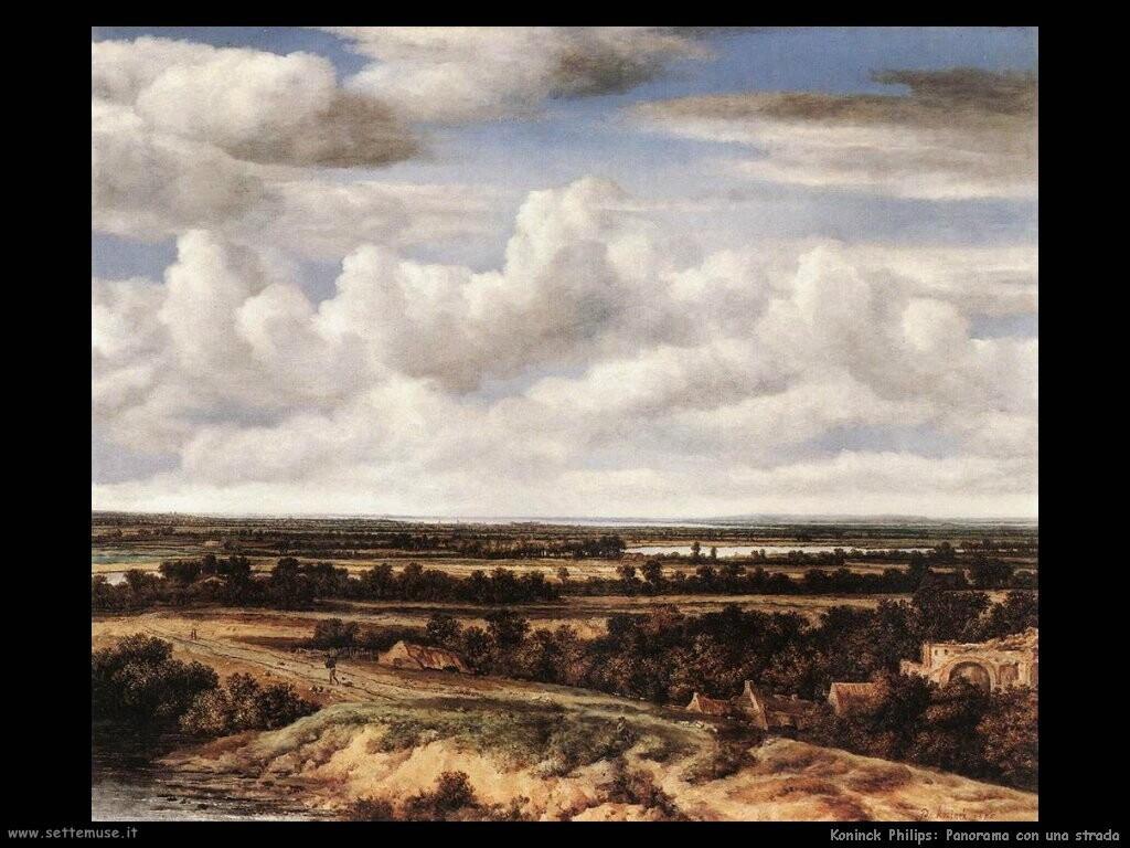 koninck philips  Ampio paesaggio con una strada
