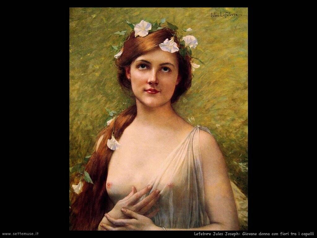 lefebvre jules joseph Giovane donna con ghirlanda di fiori