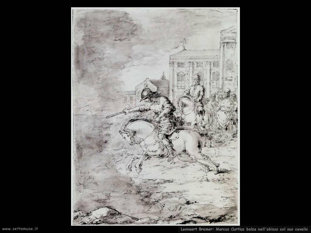 leonaert bramer Marcus Curtius balza nell'abisso col suo cavallo