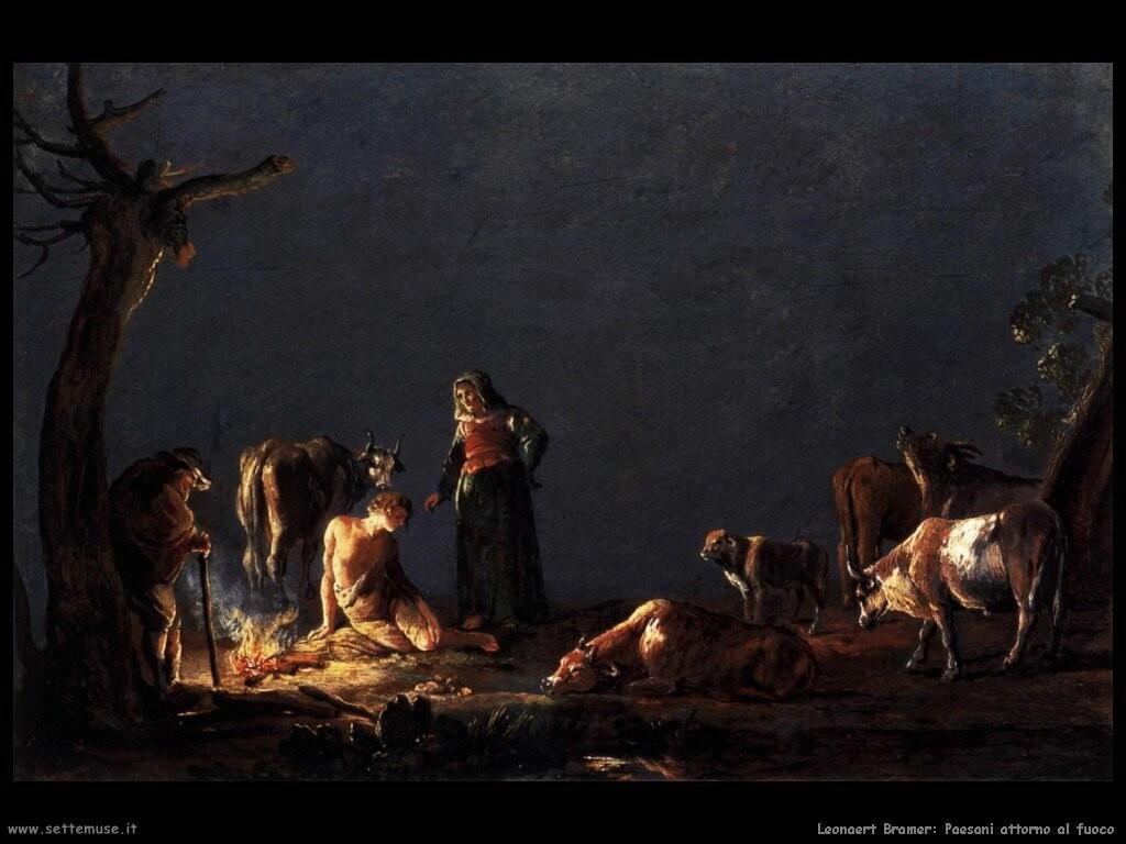 leonaert bramer Paesani accanto al fuoco