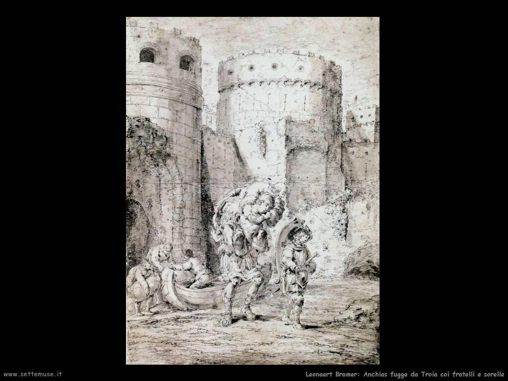 leonaert bramer Anchias fugge da Troia con i fratelli e le sorelle