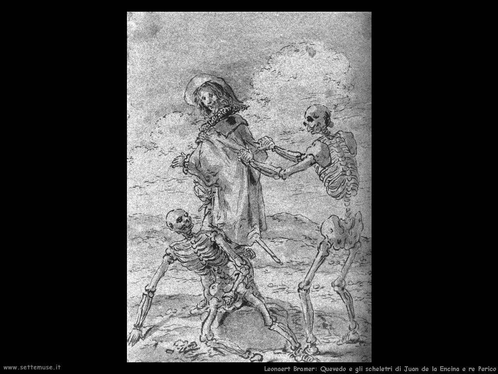 leonaert bramer Quevedo e gli scheletri di Juan de Encina e re Perico