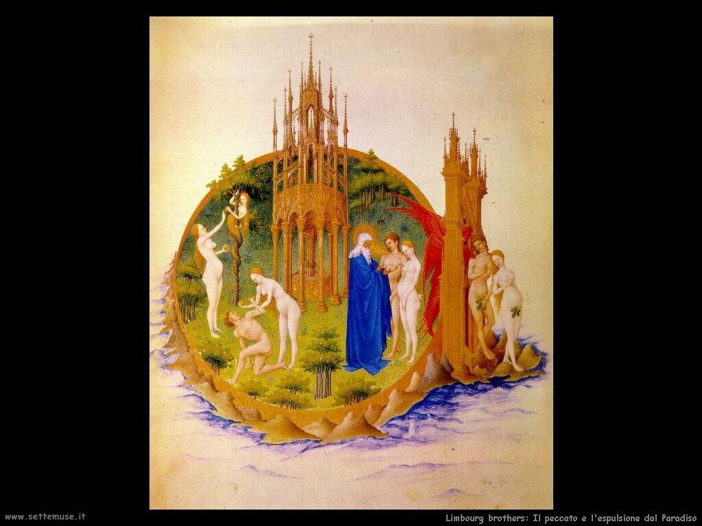 limbourg brothers   Il peccato e l'espulsione dal Paradiso