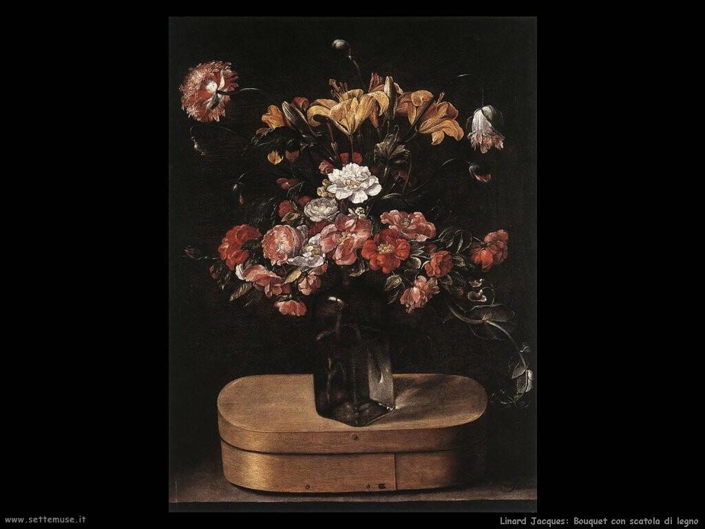 linard jacques Bouquet con scatola in legno