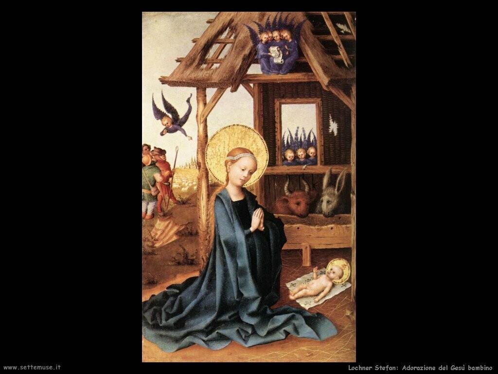 lochner stefan  Adorazione del Gesù bambino