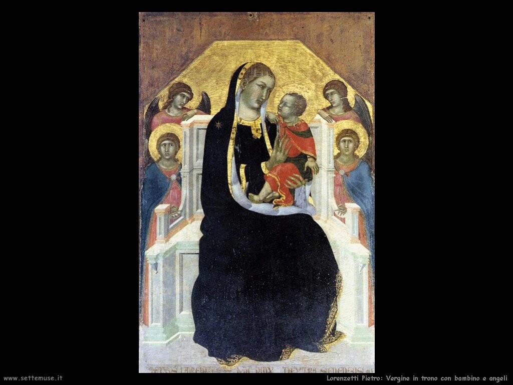 lorenzetti pietro Vergine in trono con bambino e santi