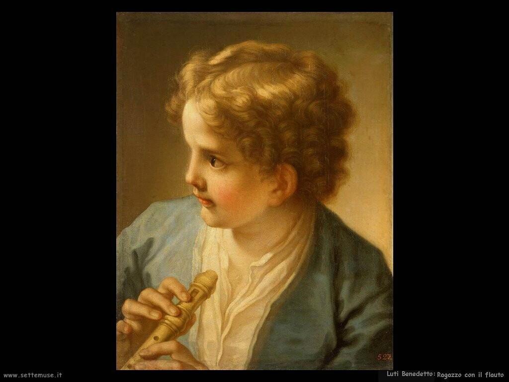 luti benedetto Bambino con il flauto