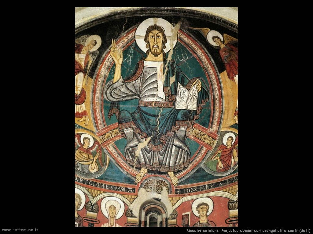 maestri sconosciuti catalani Majestas Domini con evangelisti e santi (dett)