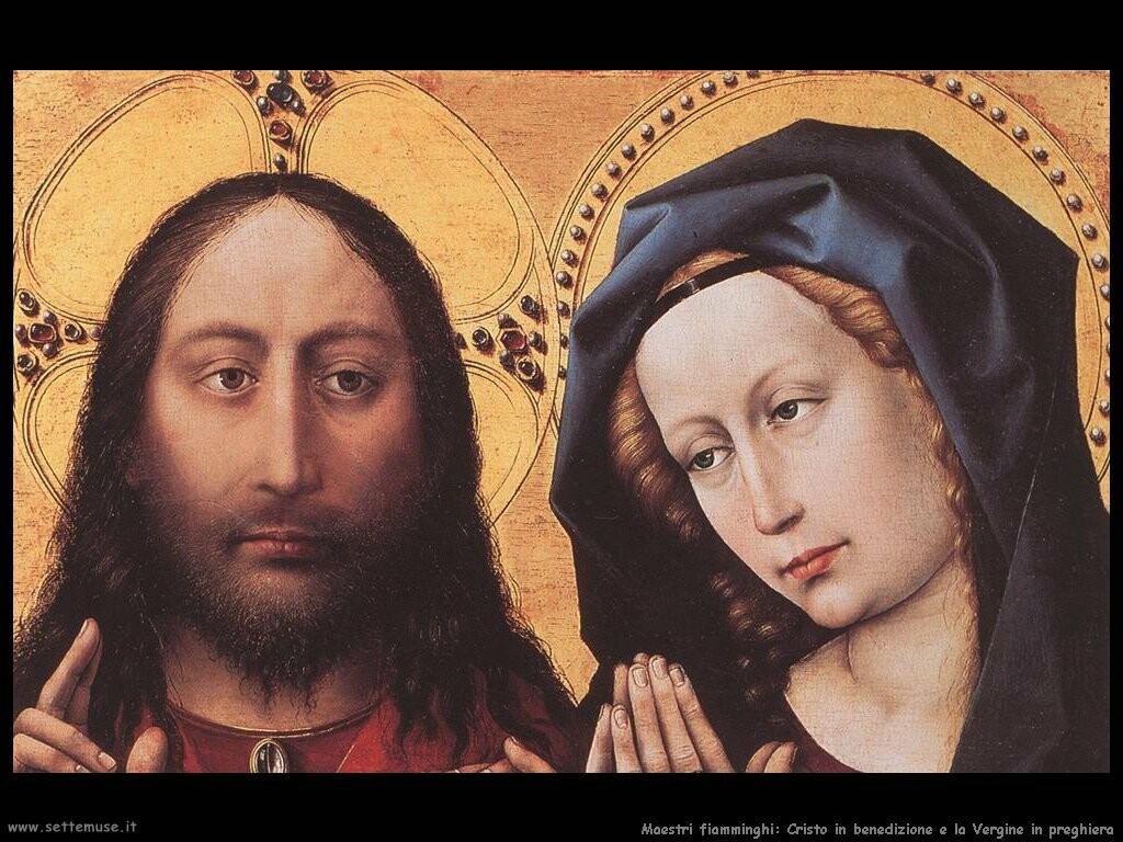 fiamminghi_Cristo benedicente e Vergine pregante