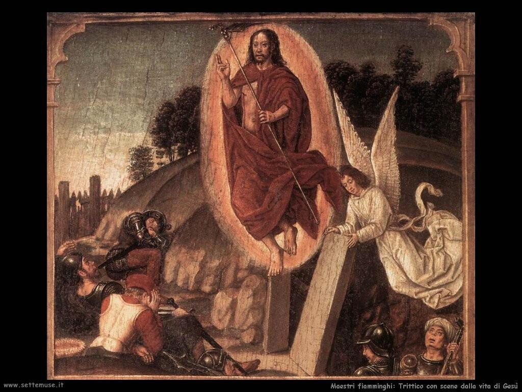 fiamminghi Trittico con scene della vita di Gesù